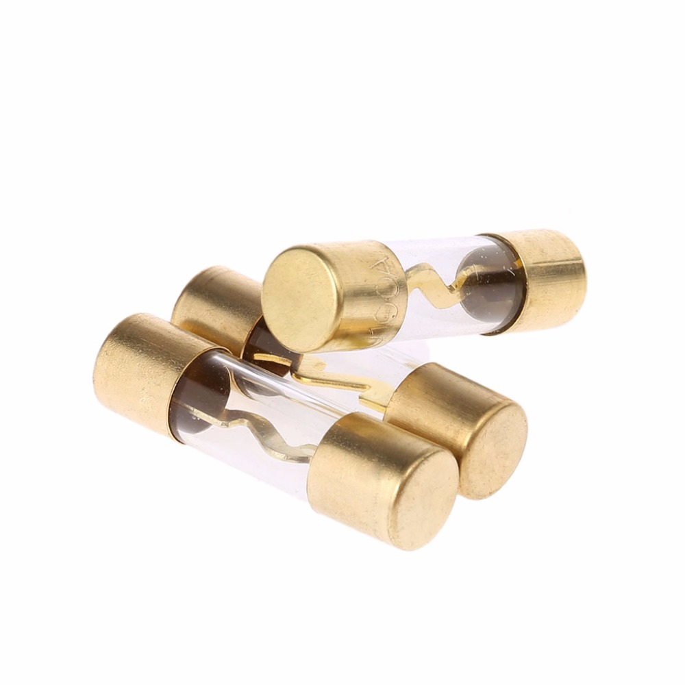 10 Pack Gold Plated High Quality Glass 50 Amp Car Audio Amp Inline AGU Fuse 50A