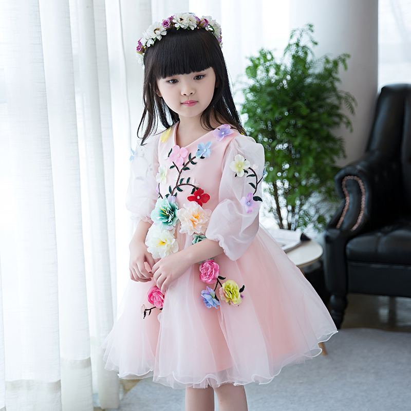 Buy Cheap 4-13yrs New Arrival Spring cute flower Girls Dress sequined mesh Girl Clothing Long Sleeves Princess Dresses Girl Costume Dress