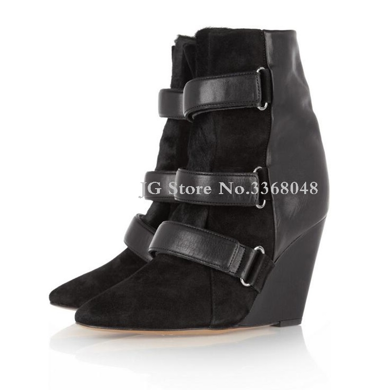 2018 Black Grey Belt Decor Woman Boots Super High Wedges Boots For Woman Fashionable Buckle Trap Pointed Toe Casual Boots