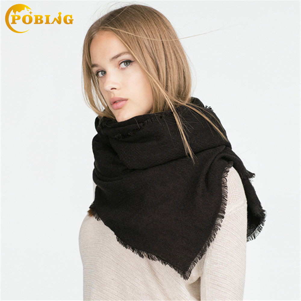 POBING Za Brand Scarf Luxury Women Scarves Winter Pashmina Solid Scarf Warm Wrap Thicken Soft Scarf Big Shawls and Scarves
