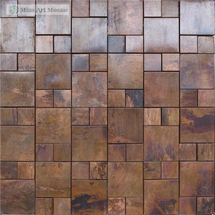 copper mosaic metal tile with bronze finish for backsplash tile