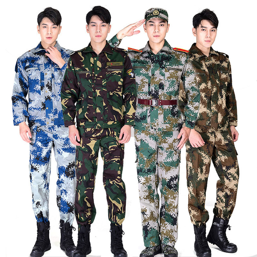 2PCs Adult Male Soldier Tactical Military Uniform Desert Forest Camouflage Pattern Combat Jacket+trousers Set Costumes