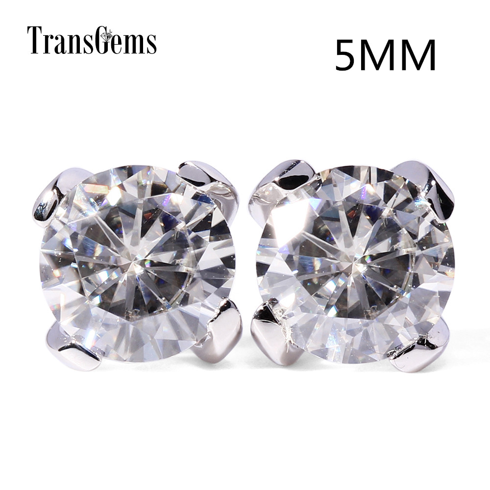 Transgems 14K 585 White Gold 1ctw 5mm lab Created Moissanite Diamond Stud Earrings For Women Push Back Earrings transgems 18k white gold 0 5 carat 5mm lab grown moissanite diamond solitaire pendant necklace for women jewelry wedding