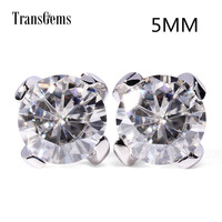 Transgems 14K 585 White Gold 1ctw 5mm lab Created Moissanite Diamond Stud Earrings For Women push Back Earrings
