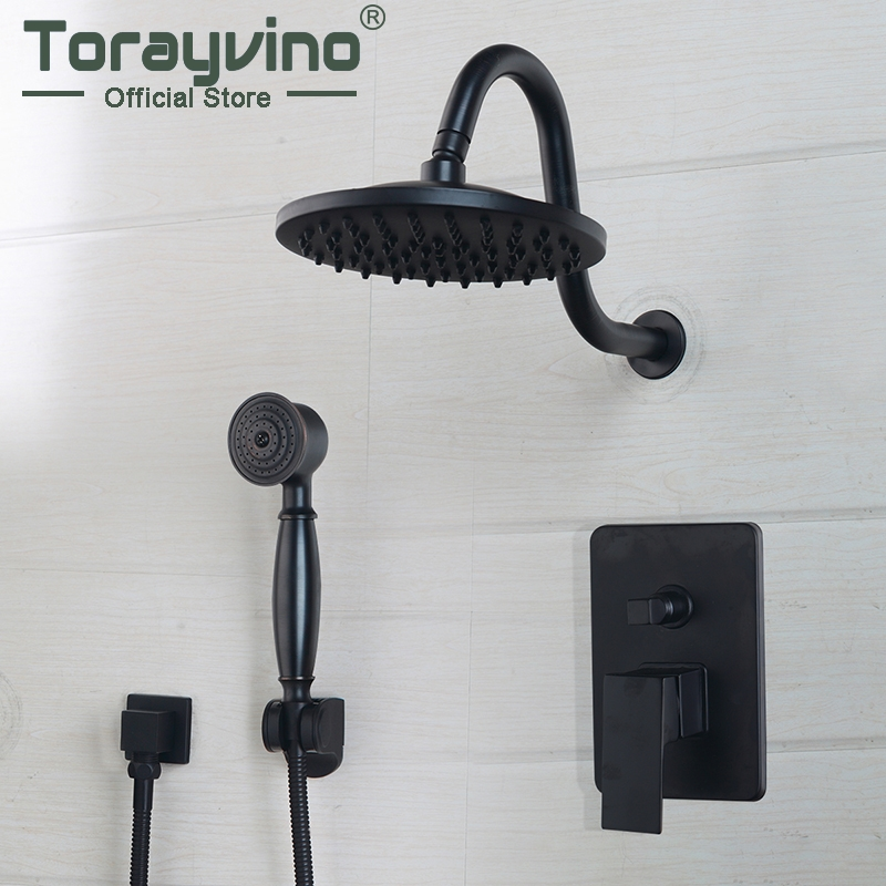 Bathroom Shower Set ORB Top Shower Head Wall Mounted Rainfall Shower Faucet And Square Hand Shower Tow Color Finished Spout Set yanksmart bathroom shower set 8 square top shower head wall mounted rainfall shower faucet and square hand shower spout set