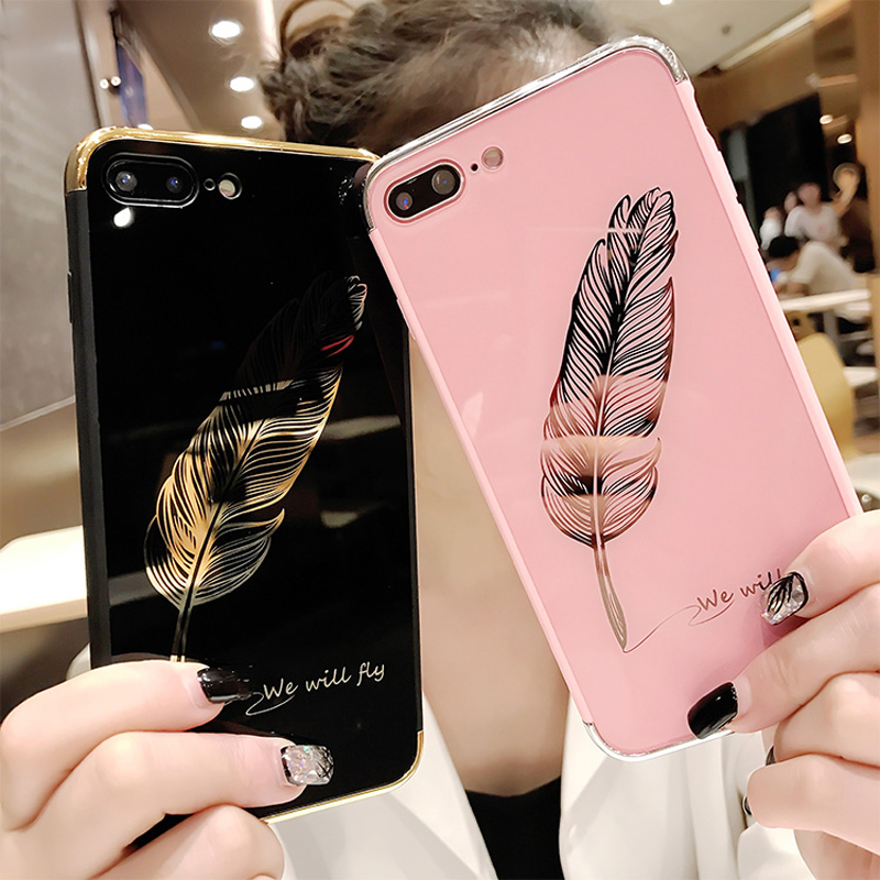 Luxury Quill pen Drop Mirror Pink soft cover case for iphone 6 6S plus 7 7plus 8 8plus X 10 Fashion feathers phone cases funda