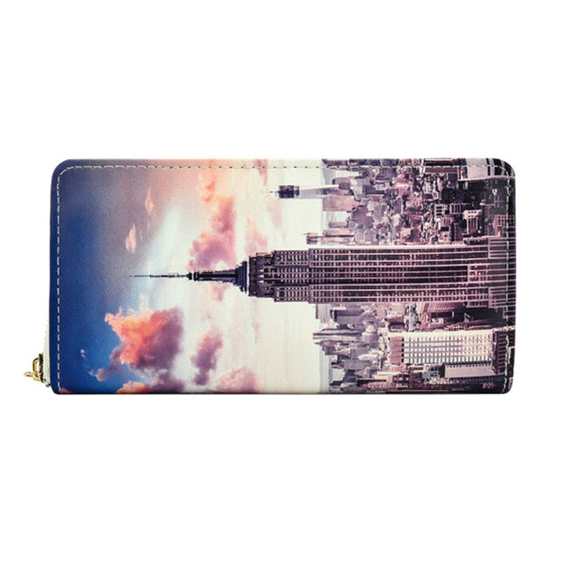 Print Landscape Long Wallet Ladies PU Leather Large Capacity Card Holders Luxury Women Clutch Purse
