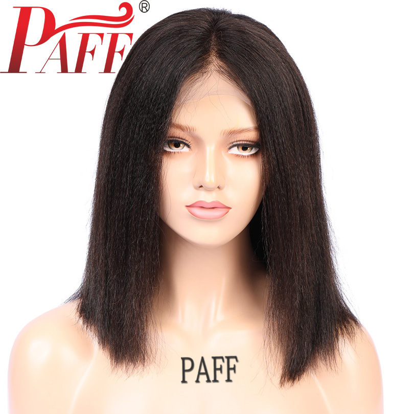 PAFF Yaki Straight Wig Short Bob Human Hair Lace Front Wigs Brazilian Remy Hair Front Lace Wigs Pre Plucked Bleacked Knots