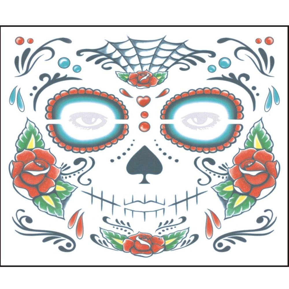 2Pcs Day Of The Dead Dia de los Muertos Face Mask Sugar Skull Tattoo Beauty US