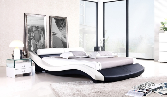 Modern Bed, French Modern Design, Top Grain Leather, King / Queen Size Soft Bed with Bedside cabinet, Best Leather Bed A022