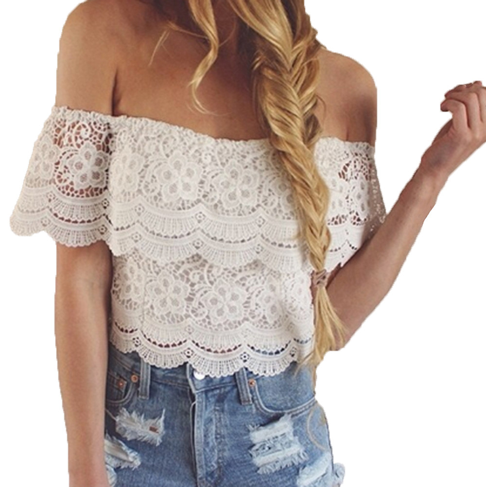 New Women Tops off Shoulder Lace Blouse Summer Sexy Lace Stitching Off Shoulder Blouse Casual Party Solid Short Sleeve Shirt