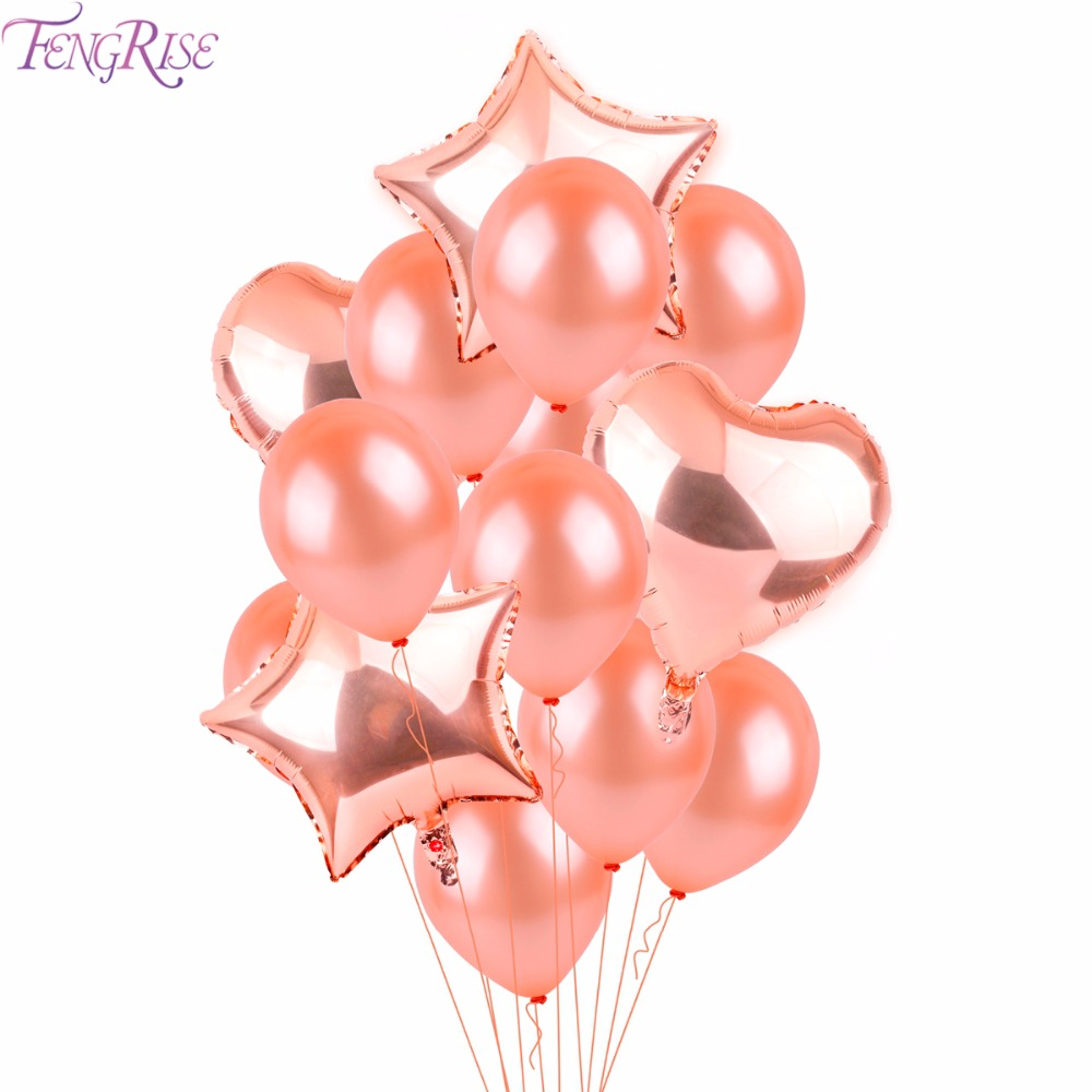 FENGRISE Rose Gold Heart Balloon Foil Champagne Star Balloons ...