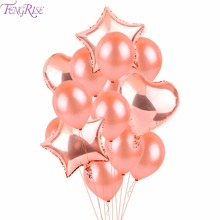 FENGRISE Rose Gold Heart Balloon Foil Champagne Star Balloons Wedding Party Decor Latex Ballon for Birthday