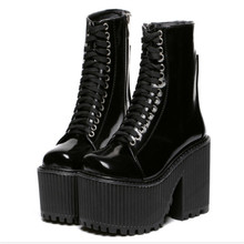 цена на 2019 new fashion ankle boots for women high platform women shoes leather martin boots high heels tie cross boots women