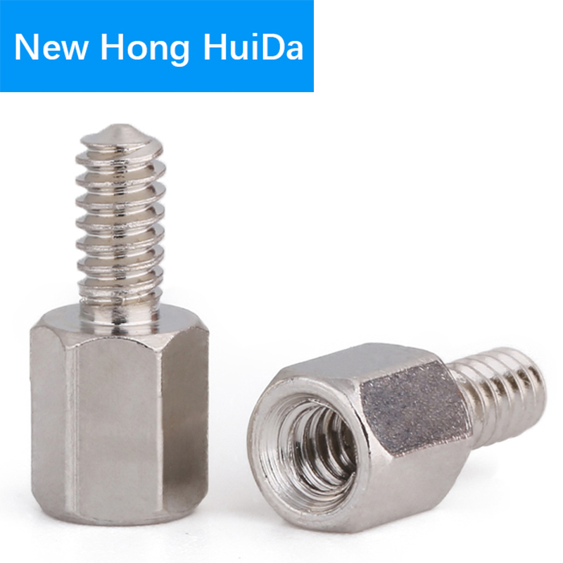 #4-40x5+5mm Hex Male Female Brass Standoff Stud Board Nickel Plated Hexagon Mount Threaded PCB Motherboard Spacer Bolt