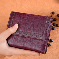 2018 hot 100% real first layer cowhide genuine Leather top quality retro small wallet women's wallet short three fold money bag
