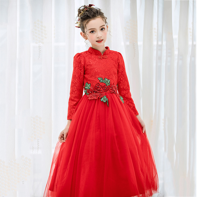 2017 High-end Flower Girls Dresses For Wedding Embroidered Formal Princess Girl Birthday Party Red Dress Kids Vestido 5-10Y summer 2017 new girl dress baby princess dresses flower girls dresses for party and wedding kids children clothing 4 6 8 10 year