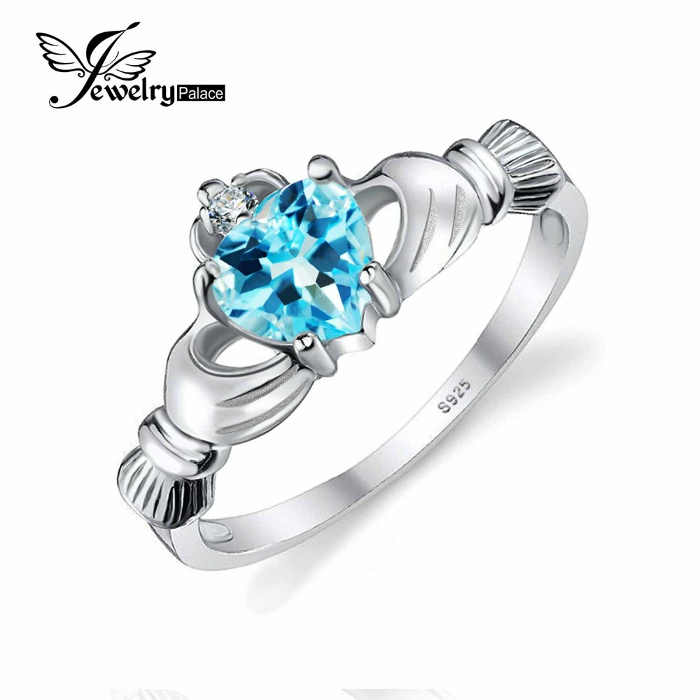 Jewelrypalace Heart 06ct Irish Claddagh Blue Topazs Birthstone Promise Ring  Real 925 Sterling Silver Jewelry Nice Gift