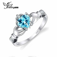 2015 Natural Blue Topaz Claddagh Heart Rings For Women Solid 925 Sterling Silver Charms Wedding Fine