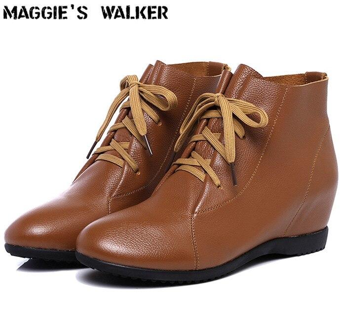 Invierno Cordón Botas Tobillo ~ Mujeres Tamaño Las Walker Maggie's Del Genuino De Moda 43 Otoño Mayor Altura E Negro rojo 35 Cuero naranja Más blanco marrón XqvwpO