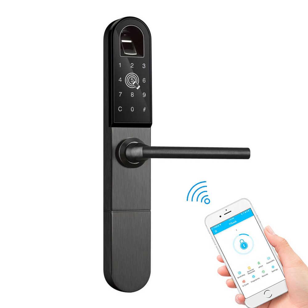 Умный дверной замок с Wi-Fi Bluetooth приложение электронный цифровой код RFID карты Алюминиевый раздвижной стеклянный крючок дверной замок