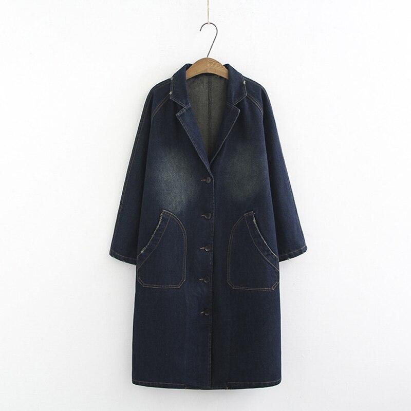 Coat Windbreaker Femal Denim Trench Long Fashion Plus-Size Women's Ladies Casual New