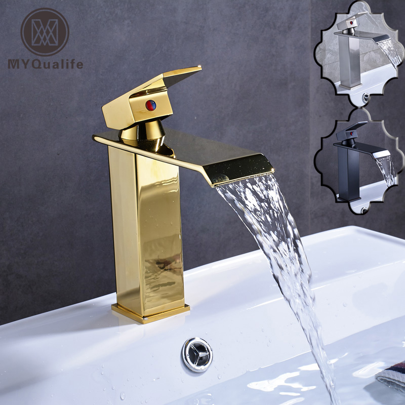 Deck Mounted Single Lever Square Waterfall Basin Vanity Sink Faucet Golden Brass Bathroom Lavatory Sink Mixer Taps лонгслив printio незабвенные звёздные войны