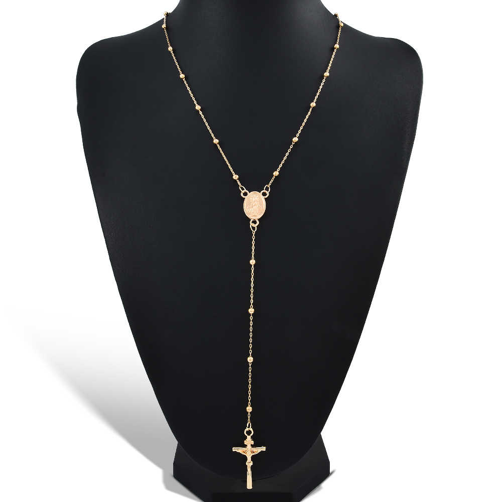 Jesus Cross Pendant Necklace Alloy Gold Color For Women Religious Christian Jewelry Rosary beads Simple style festival Gifts