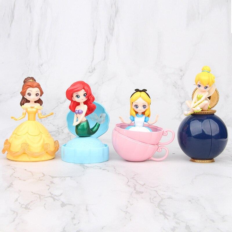 4pcs/set Disney Princess Surprise  Moana Snow White Merida Princess Mystery Princess Balls Doll Action Figures Toys For Girls