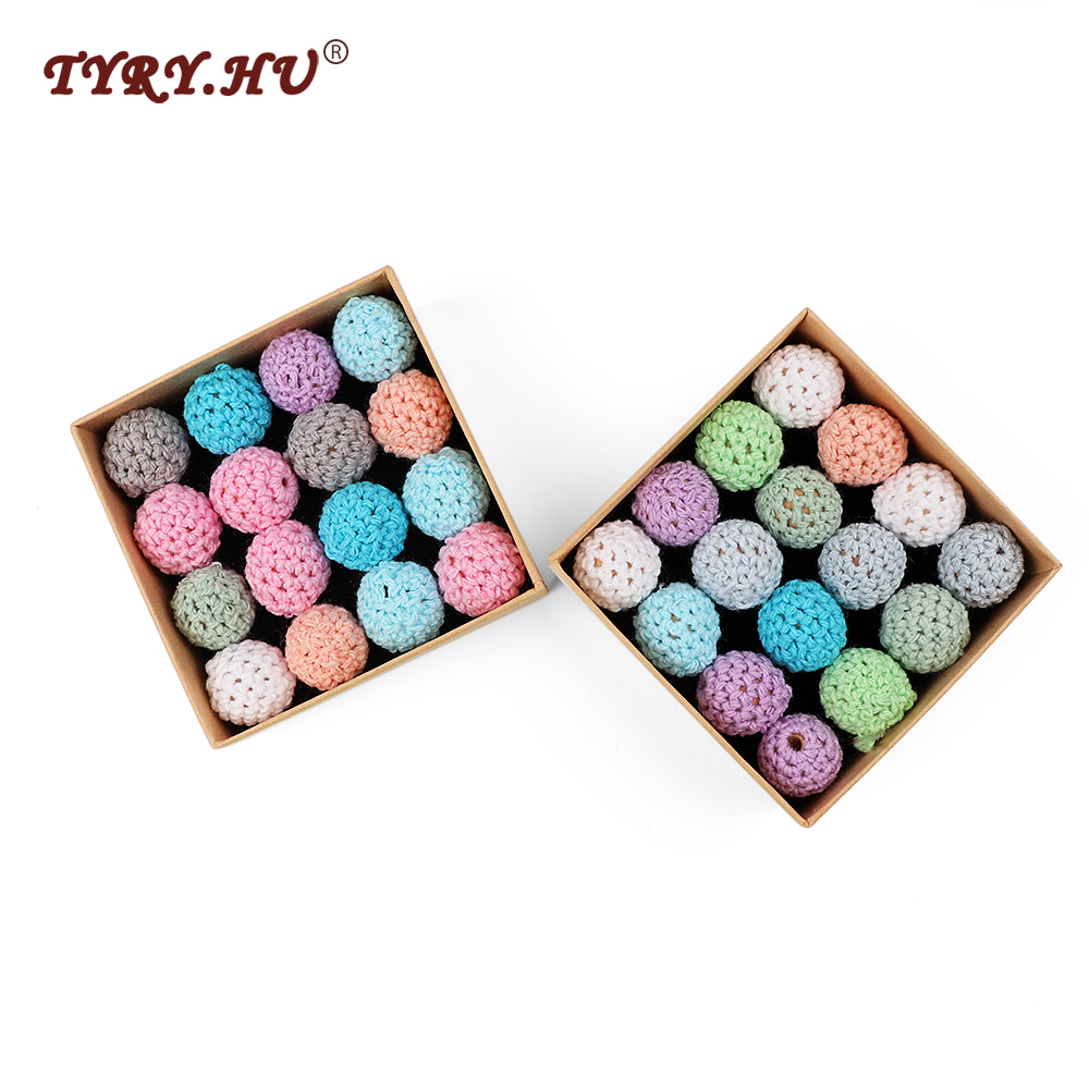 TYRY.HU Handmade Crochet Beads 20PC Elegant Wooden Beads 16mm Ball Knitted By Cotton Threa