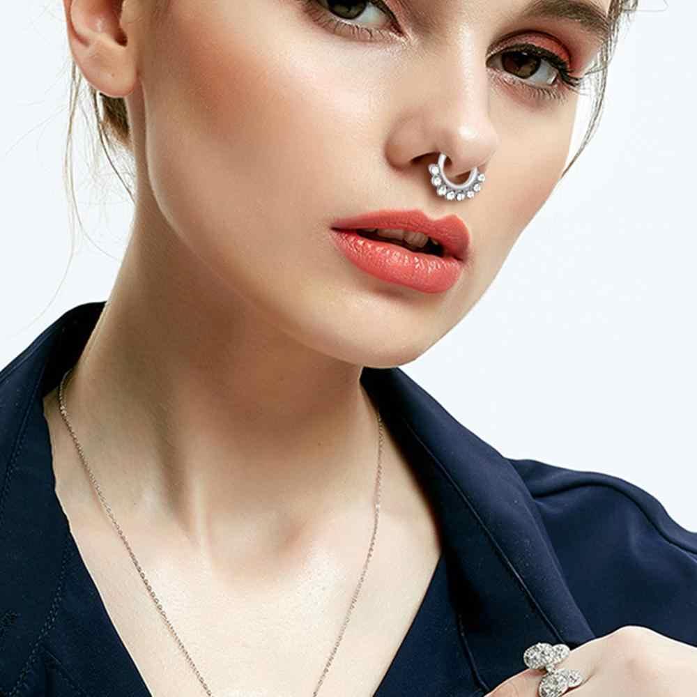 Kléder 9 colores herradura nariz falsa anillo barra en forma de herradura Circular barra nariz labio Aro para el tabique nasal y la oreja anillo Piercing joyería del cuerpo
