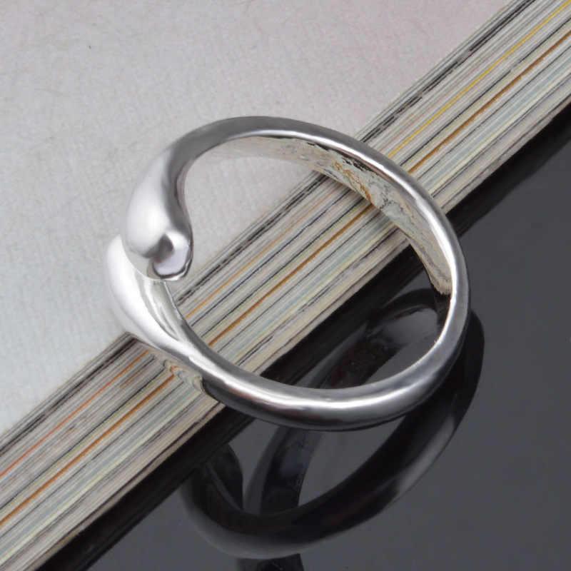 โปรโมชั่นแฟชั่นผู้หญิงเครื่องประดับของแท้ 925 Sterling Silver Smooth รูปแหวนปรับโรงงานราคาเปิดแหวน