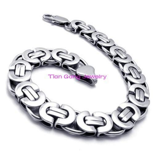 75a35f06650a Clásica 6 8 10mm ancho elegir moda para hombre de joyería de acero  inoxidable cadena bizantina pulsera 8.66