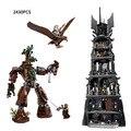 Último clásico de el Señor de Los Anillos La Torre de orthanc Saruman Gandalf miinfigures compatible con legoe 10237 juguete bloque de construcción