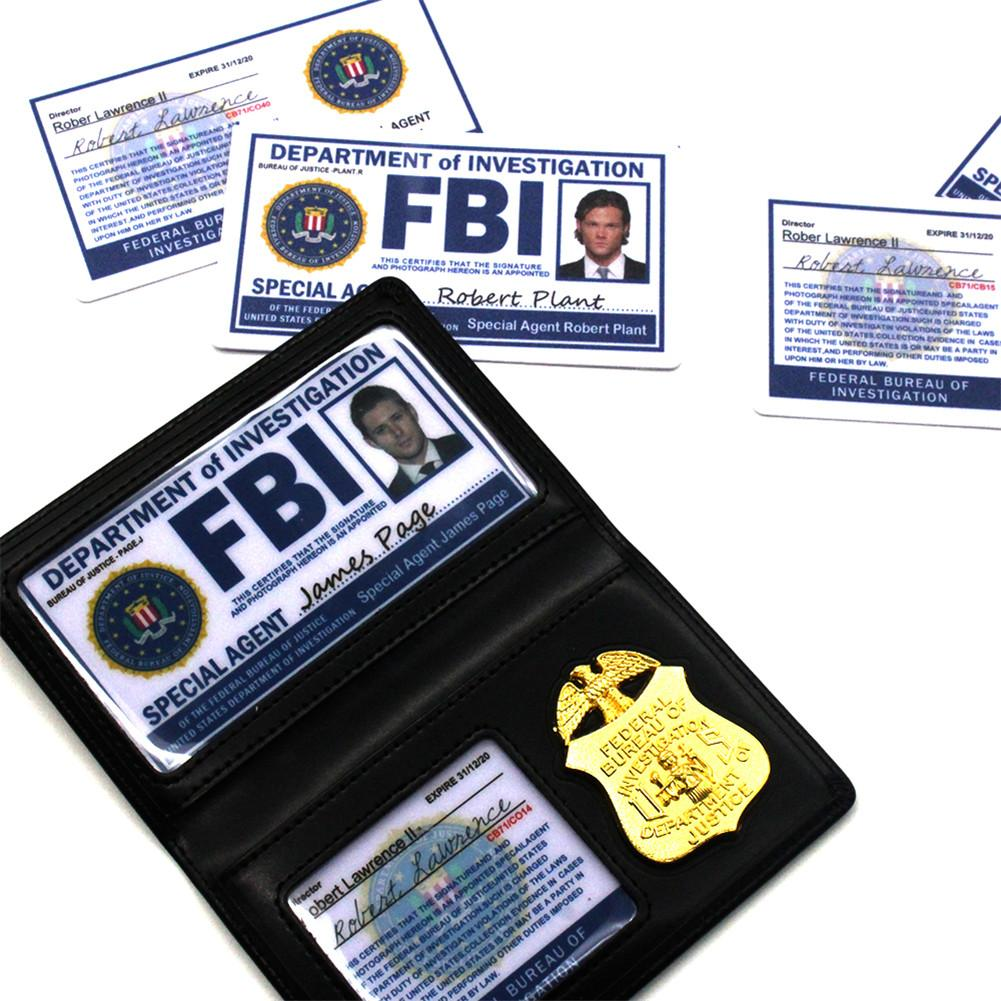 Role Playing Props Supernatural Dean Sam Winchester FBI Badge Card Holder ID Cards Cosplay