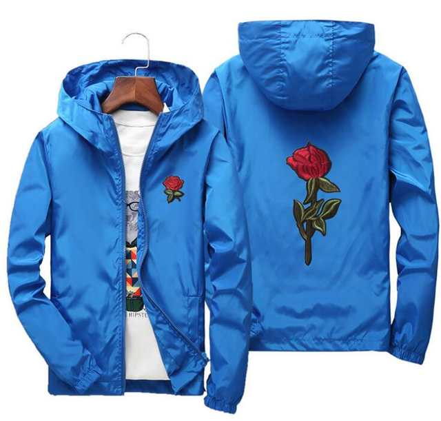 Chaqueta cortavientos AFS JEEP bordado Rosa flor hombres gran tamaño S 7XL con capucha chaqueta piel