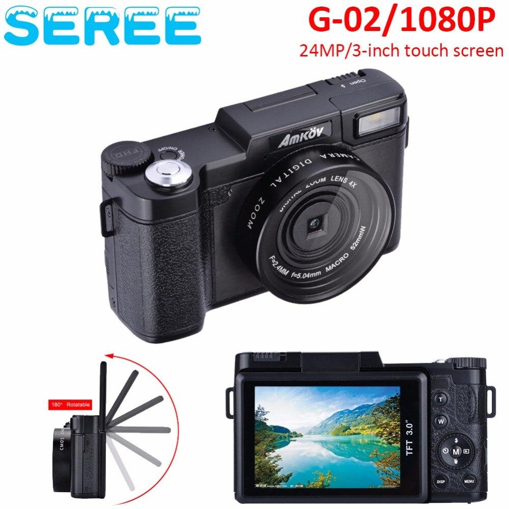 Seree 24MP HD Half-DSLR Professional Digital Cameras with 4x Telephoto,Fisheye & Wide Angle Lens Cameras Macro HD Cameras