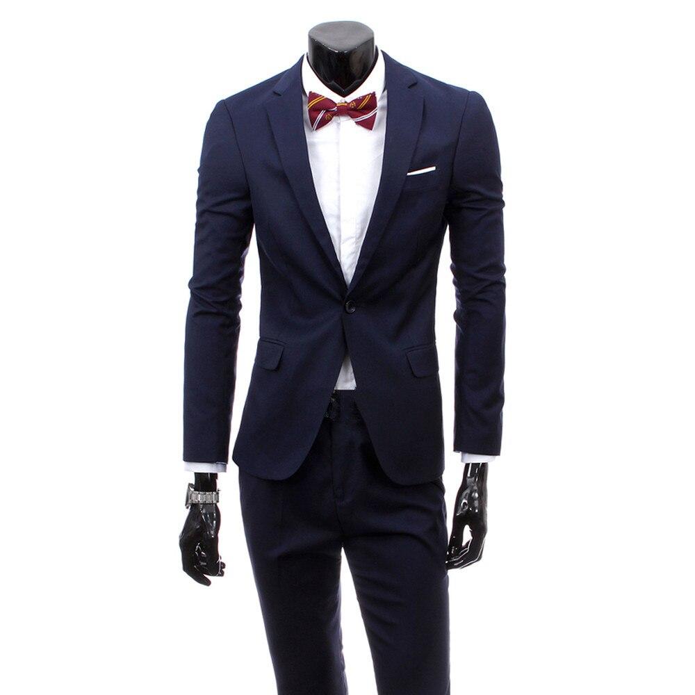 2018 Men Business Casual Suit Slim Fit Classic Male Suits Blazers Suit Man Solid Color Single Buckle 2 Pieces (jacket+pants)