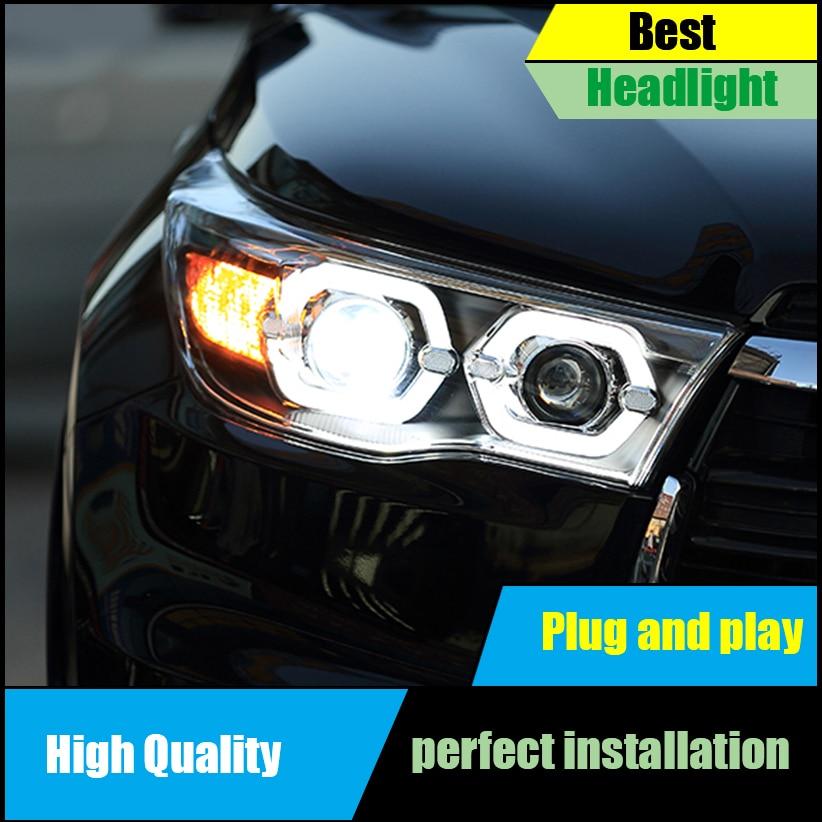 Car styling Head Lamp Case For Toyota Highlander Kluger headlights 2015-2017 LED Headlight O Angel eyes DRl Bi-Xenon Lens beam