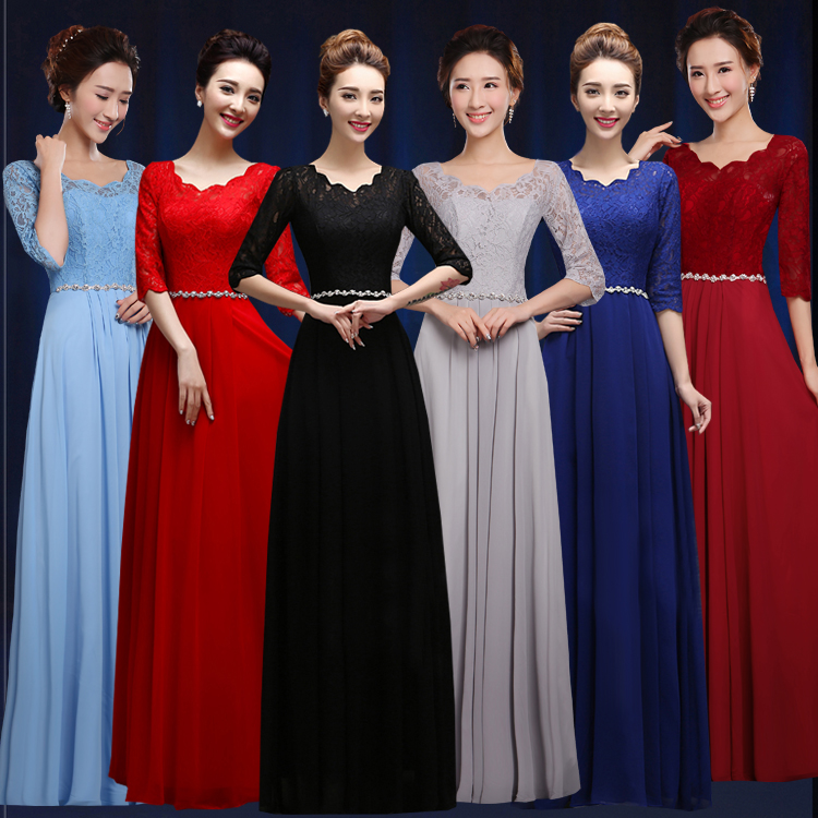 Long Dress For Wedding Party For Woman2019 New Lace Chiffon Crystal Half Sleeve A Line Gray Royal Blue   Bridesmaid Dress Chea