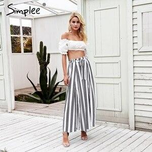 Image 3 - Женские широкие брюки Simplee в полоску,свободные хлопчатобумажные штаны с высокой талией и разрезами на боках, летние эластичные белые тканые брюки больших размеров