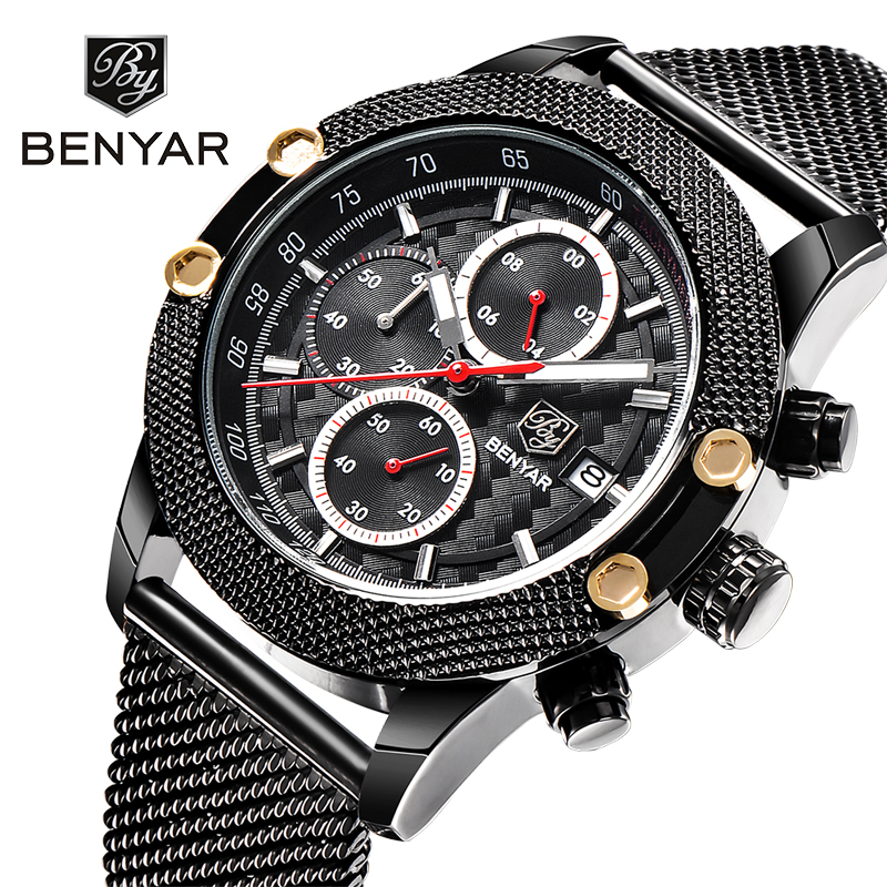 BENYAR Sport Chronograph Mens Watches Mesh Band Waterproof Luxury Men Quartz Watch Business Dress erkek kol saati dropshipping все цены