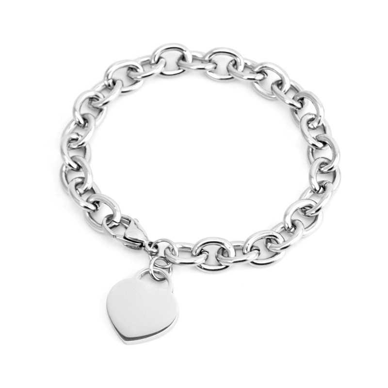 Bransoletka ze stali nierdzewnej kobiety biżuteria bransoletka serce tag Rolo kabel femme z metkami bransoletka dla par bransoletki Chain & Link