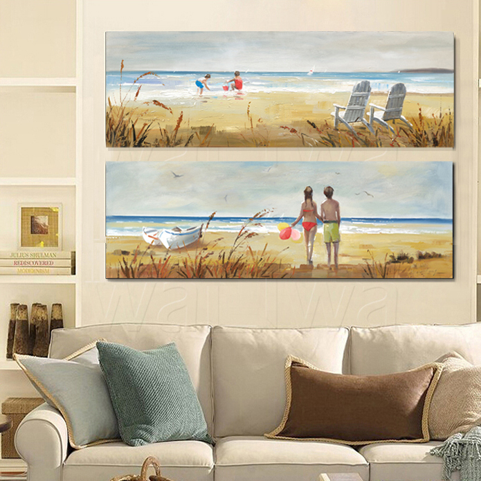 ocean beach child ship painting decorative painting canvas art home office living room decor free shipping beach office decor