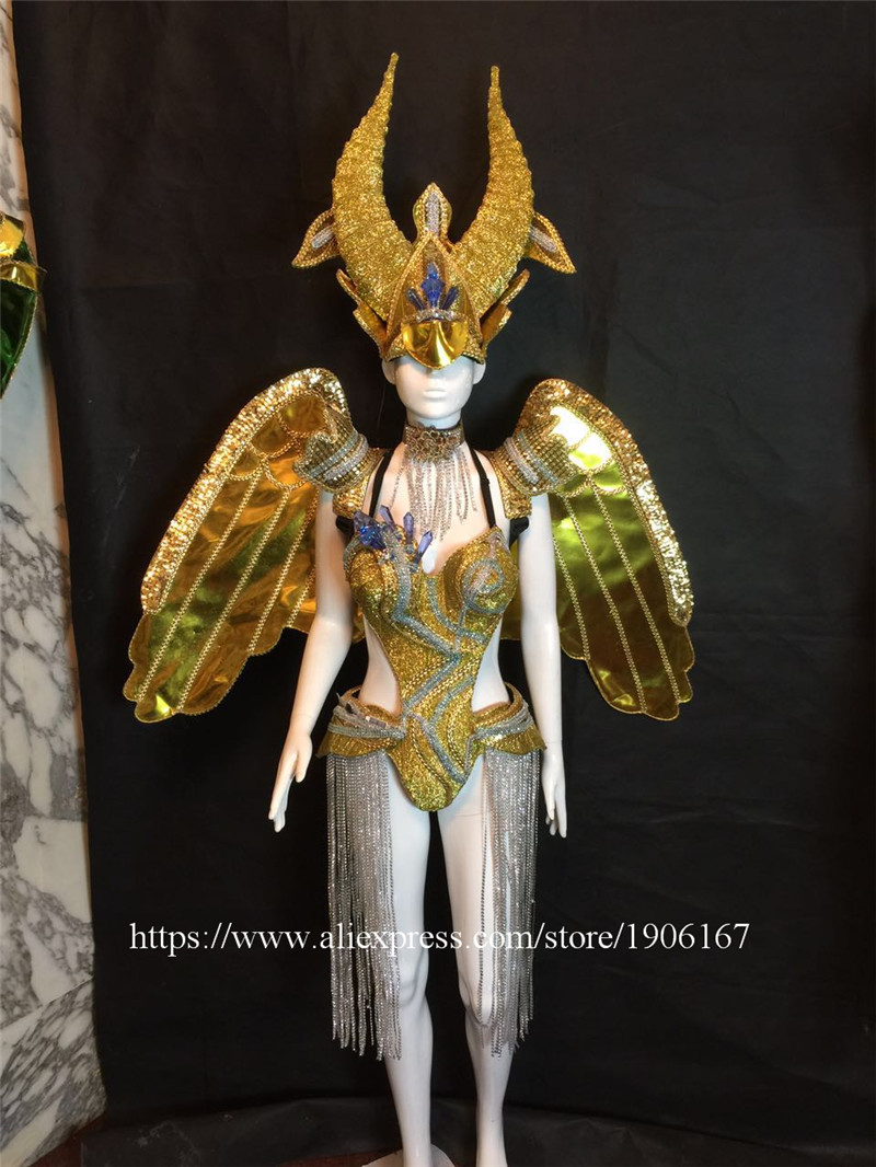 Bar ballroom dance led costumes dress bellydance butterfiy wings colorful led wear clothes stage dj sexy led bra 4