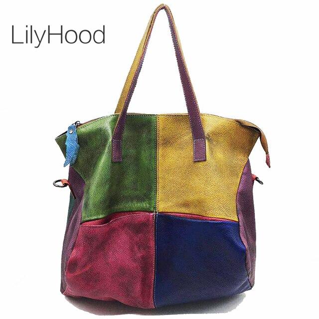 Patchwork Genuine Leather Bag Lady Vintage Retro Chic Big Capacity Handbag 2019 Fashion Designer Luxury Crossbody Bag for Women