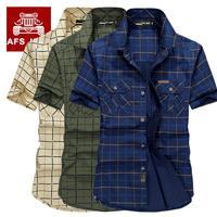 Loose Size 5XL Men Shirts 2017 Summer AFS Jeep Brand Clothing Camiseta Masculina Plaid 100 Cotton