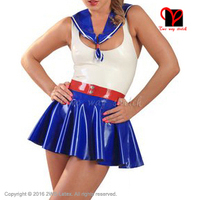 Sexy Latex Sailor Set Dress Collar Belt Swing Fetish Bondage Gummi Skater Baby Doll Flares Suit
