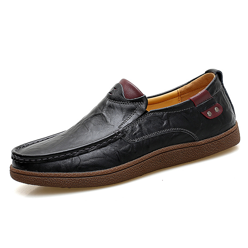2019 New Men Loafers Luxury Brand Men Shoes Fashion Casual Male Shoes Lace Men Leather Shoes Designer Leather Flat Shoes in Men 39 s Casual Shoes from Shoes