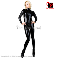 Red Sexy latex catsuit breasts Zippers body suit rubber catsuit Long sleeves Jumpsuit overall plus size XXXL LT 077